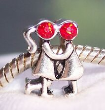Couple Red Rhinestone Anniversary Man Woman Bead for European Charm Bracelets