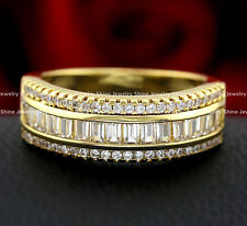 9K YELLOW ROSE WHITE GOLD GF VICTORIAN SQUARE DIAMOND ETERNITY WEDDING BAND RING