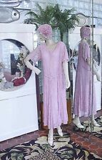 1920s DRESS 1930s & FLAPPER HAT Modern Millie GATSBY DOWNTON ABBY PINK LACE MED+