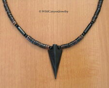 Black Jasper Arrowhead Pendant Necklace with penshell heishi beads