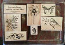 Stampin' Up TOUCH OF NATURE Set 7 Rubber Stamp Lot Butterfly Bird Acorn