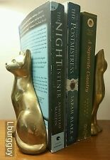 Vintage MCM Siamese Cat Bookends Brass/Bronze Tone Nice Condition