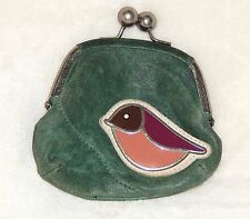 FOSSIL MADDOX GREEN DISTRESSED LEATHER ENAMEL BIRD WALLET KISS LOCK COIN PURSE