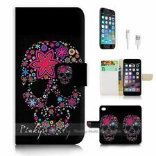 iPhone 6 Plus (5.5') Flip Wallet Case Cover! P0875 Sugar Skull