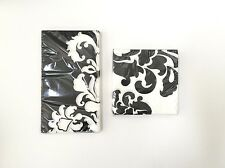 Pack Of 2 Paper Buffet & Beverage Napkins- Damask Print, Black & White, 40 Ct.