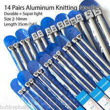 "28 Aluminum Knitting Needles, Single Pointed Set, 14 Pairs, 35cm(14"") 2-10mm"