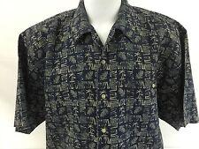 Bugle Boy Original Vintage Hawaiian Aloha Shirt Blue Tapa Palms Pineapple 2XL