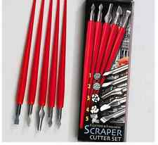 SET 5 ENGRAVING ART SCRAPER FOIL CUTTERS & HANDLES ASSORTED BLADES CRAFT TOOL