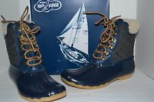 Sperry FOR J CREW Wool Lined SHEARWATER NAVY/CHARCOAL DUCK BOOT SNOW RUBBER 8 M