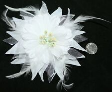 White Burlesque Lolita Gothic Gypsy Feather Tribal Belly Dancing Hair Clip Pin