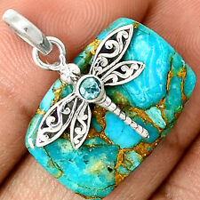 Dragonfly - Copper Blue Turquoise 925 Sterling Silver Pendant Jewelry SP218759