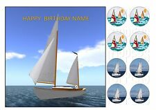 "SAILING BOAT BOATS CAKE TOPPER SQUARE EDIBLE ICED ICING 7.5""+8 CUPCAKE TOPPERS"