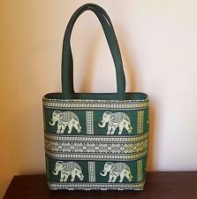 Thai Elephant Embroidered Purse Shoulder Bag Green Gold Purchased in Thailand