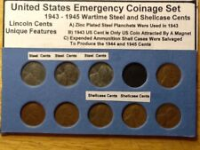 1943 - 1945PDS Wartime Lincoln Cent Set; Steel, Shellcase: All 3 Mints
