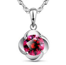 925 Silver Red Zircon Pendant Necklace Elegant Women's Jewelry Birthday Gift
