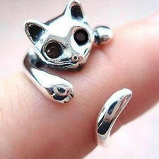 Jewelry Ring Adjustable Silver Plated Cat Shape Ring