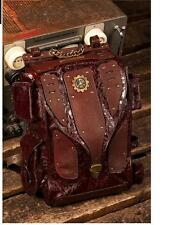 Womens Retro Leather Backpack Punk Rock Handbag Casual Steampunk Tote Travel Bag