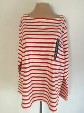 Gap Women's White And Red Long Sleeve Striped Shirt Top Tee Blouse NWT XXL