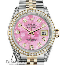 Rolex Stainless Steel and Gold 36 mm Datejust Watch Pink Flower MOP Diamond Dial