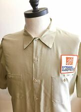 The Home Depot Tan Red Kap Work Shirt Size XL Estenson Logistics Patch