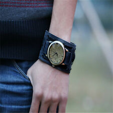 New Style Retro Punk Rock Brown Big Wide Leather Bracelet Cuff Men Watch WE