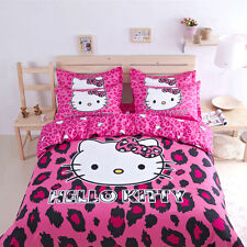 NEW HELLO KITTY 3PCS TWIN  QUILT DUVET COVER BEDDING SET 100% COTTON US SELLER