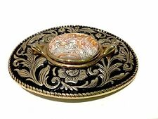 Womens Belt Buckle Western Gold Tone Polished Agate