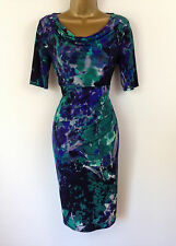 M&S Blue Green Floral Wiggle Shift Evening Dress Party Cruise New UK Size 8