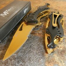 MTech Ballistic GOLD TITANIUM Folding Serrated Pocket Knife With Bottle Opener
