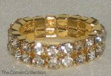 DOUBLE ROW CLEAR CRYSTAL GOLD-TONE STRETCH TOE RING