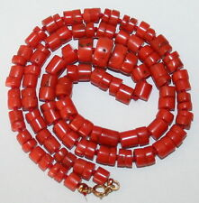 ANTIQUE 47cm LONG SALMON CORAL 5mm-10mm Beads 9K GOLD CLASP KNOTTED 23g NECKLACE