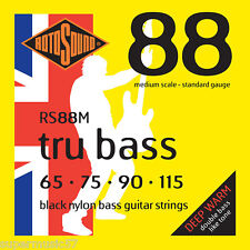 Rotosound RS88M Black Nylon Tru Bass Guitar Strings - MediuM Scale 65-115 guage