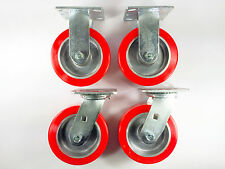 "6"" x 2"" Polyurethane on Aluminum Caster - Rigid (2EA) / Swivel (2EA)"
