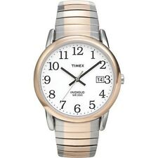 Mens Timex Indiglo Easy Reader Two Tone Stretch Expansion Stainless Watch T2H311