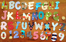 5 handmade IRON ON fabric letters and numbers,no sewing  personalisation New