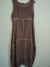 GRIZAS CRINKLE LINEN/SILK TERRACOTTA DRAPED EMPIRE LINE DRESS SIZE M/L BNWT