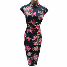 KAREN MILLEN Red Roses Oriental Chinese Cocktail Wiggle Pencil Dress 12 UK