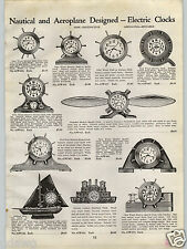 1940 PAPER AD Airplane Aeroplane Propeller Electric Mantel Clock Ship's Wheel