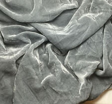 "Silk VELVET Fabric SILVER GRAY fat 1/4 18""x22"" remnant"