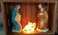 Vtg Union Blow Mold Plastic Nativity Mary Jesus Joseph Christmas Light-up Indoor