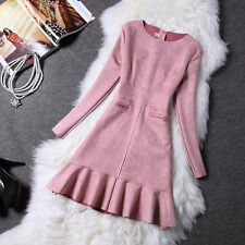2017 Fashion Women Solid Suede Slim Long Sleeve Elegant Casual Party Dress Pink