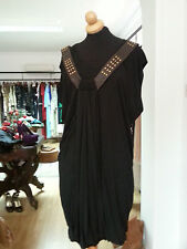 YIGAL AZROUEL Studded Leather Harness Grecian Draped Jersey Black Dress SZ2 ,S