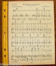"HEIDELBERG COLLEGE Original Vintage Song Sheet c 1929 ""Heidelberg Victory March"""