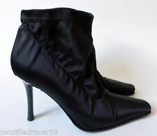 Enrico Gibellieri Heels Booties Ankle Boots Black Satin Stretch Ruched 34.5 4.5