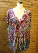 One World 1X Shirt Top Blouse Tunic Sublimation Multi-Color V Neck NEW