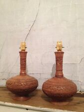 """PAIR Beautiful Hand Carved Solid Wood Table Lamps Lovely Floral Detail H12"""""""