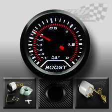 "TURBO BOOST GAUGE SMOKED DIAL FACE 52mm 2"" (BAR) White LED INTERIOR DASH SPEEDO"