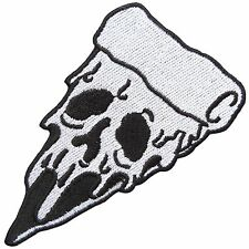 Pizza White Scream Face Skull Ghost Halloween Food Biker Rock Iron on Patch 1592