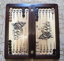 Big Backgammon board game handcrafted set with chips Ash wood Ship