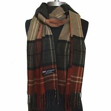 New 100% Cashmere Scarf Rust/Camel check Plaid Wool Soft Unisex (#Cm10)h